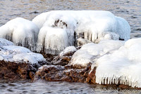 Ice formation on rocks at Gooseberry State Park